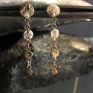14k Yellow solid Gold handmade Earrings.